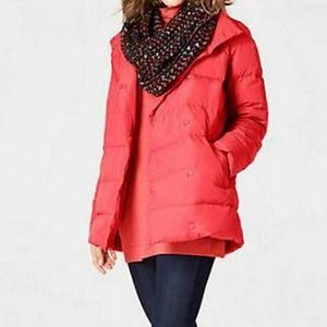 J. Jill M Red Chloe Down Puffer Jacket Coat Snaps